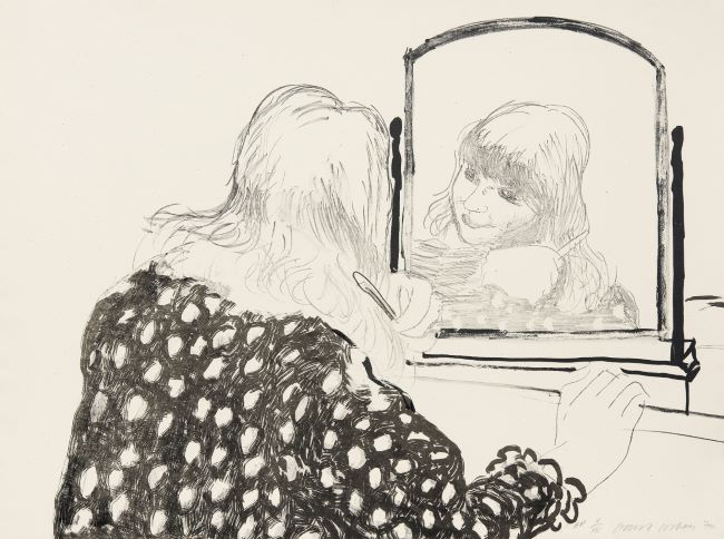 estampes Ann combing her hair David Hockney
