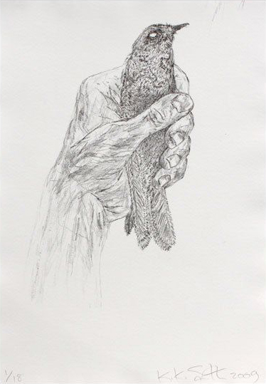 estampe Bird in hand Kiki Smith