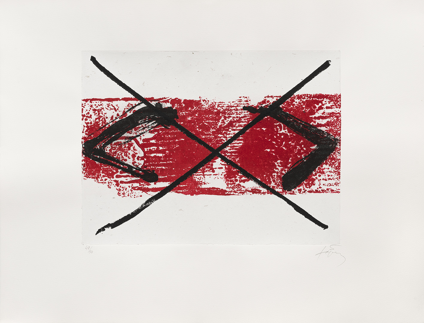 estampe Bande rouge Antoni Tàpies