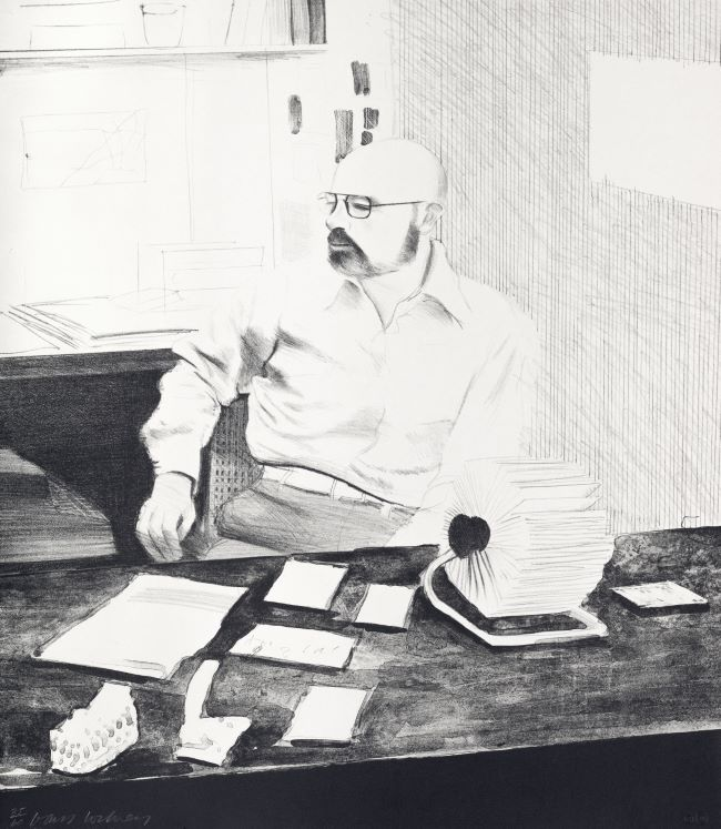 estampes Sidney in his office David Hockney