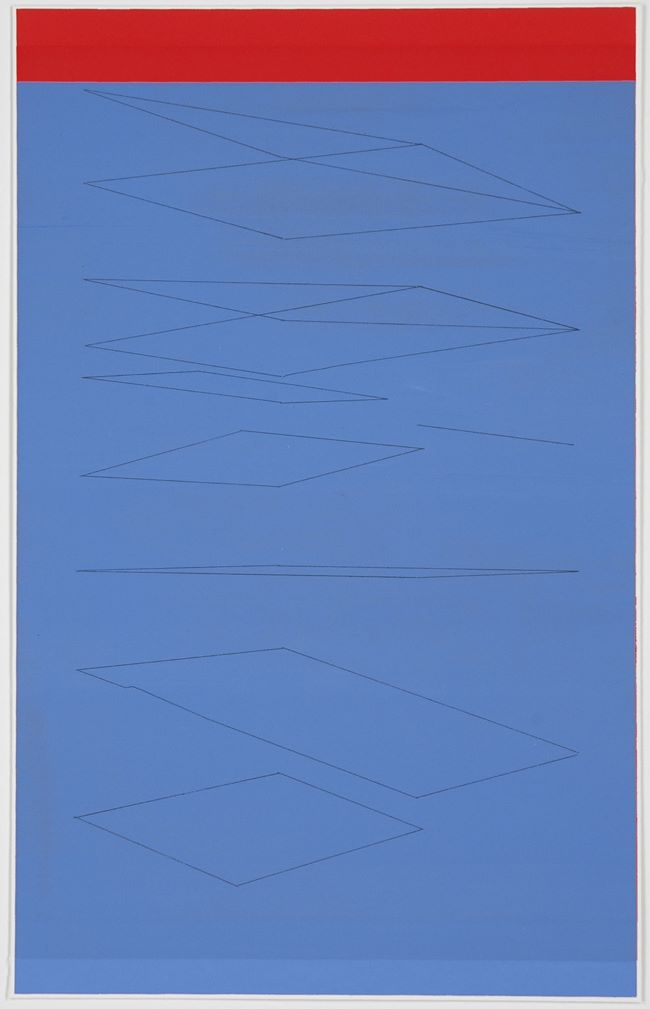 oeuvre Red strip and blue, airy planes Kate Shepherd
