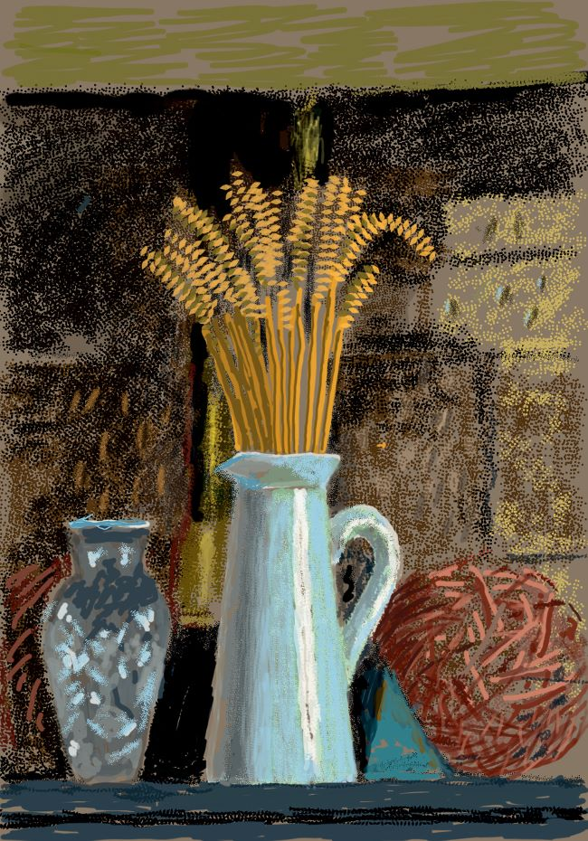 oeuvres Glass Vase, Jug and Wheat David Hockney